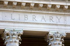 The Letters LIBRARY on a university building Royalty Free Stock Photography
