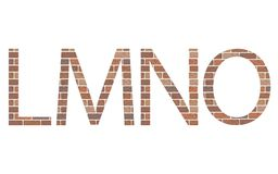 Letters LMNO in bricks Stock Images