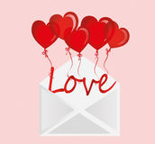 Letters of love on the balls in the form of a heart fly out of envelope. Letters of love on the balls in the form of a heart fly out of the envelope. Greeting Stock Photo