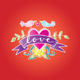 Letters love with two bird and ribbon. Royalty Free Stock Photography