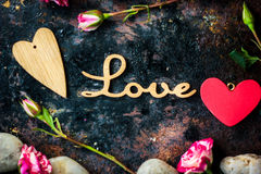 Letters LOVE and Valentine's day heart and flowers Royalty Free Stock Image