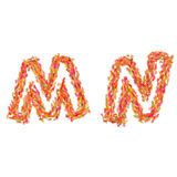 The letters M, N made of autumn leaves Royalty Free Stock Photos