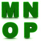 Letters M, N, O, P of 3d Green Grass - Set. Stock Photos