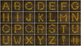 Letters made with candies Stock Photo