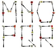 Letters made of food in forks. M to R letters made of cut food in forks Stock Photography