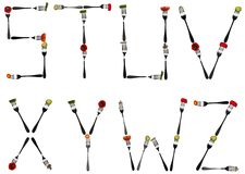 Letters made of food in forks. S to Z letters made of cut food in forks Stock Images