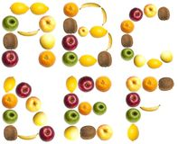 Letters made of fruits. A to F letters made of fruits Stock Images