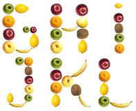 Letters made of fruits. G to L letters made of fruits Royalty Free Stock Image