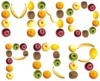 Letters made of fruits. M to R letters made of fruits Stock Photo