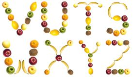 Letters made of fruits. V to Z letters made of fruits Stock Images