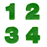 Letters 1,2,3,4 made of green grass isolated on white Royalty Free Stock Images
