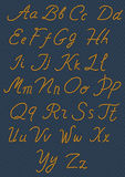 Letters made from nautical rope. Hand written alphabet. Vector illustration Stock Images