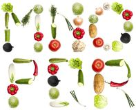 Letters made of vegetables Royalty Free Stock Images