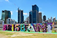 Letters making Brisbane sign in South Bank Parklands. Brisbane, Queensland, Australia - January 6, 2018. Letters making Brisbane sign in South Bank Parklands Royalty Free Stock Photos