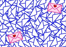 Letters the most valuable. Among set of identical envelopes there are two which differ from all others (color and presence of hearts). Each envelope rejects a Stock Photography