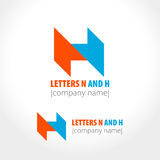 Letters N and H. Abstract company logo design. Vector illustration Royalty Free Stock Photos