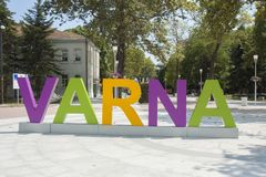 VARNA, BULGARIA - AUGUST 14, 2015: Letters with name of town on Letters with name of town on Saints Kirill and Mefody square in ci Royalty Free Stock Images