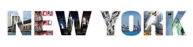 Letters NEW YORK photo collage isolated on white. Background Stock Photos