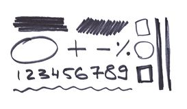 Letters number arrows written in black marker stock illustration