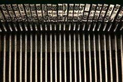 Letters and numbers. In the typewriter machine stock photos