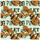 Letters and numbers abstract seamless pattern. For web, textile and print. Stains and postage stamps on pattern Royalty Free Stock Images