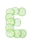 Letters and numbers alphabet of  cucumbers Royalty Free Stock Images