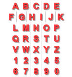 Letters and numbers 3D red isolated on white with shadow - ortho Stock Photo