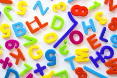 Letters and numbers of different colors Stock Photos