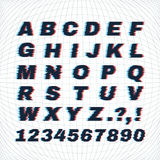 Letters and numbers with distortion effect. Vector glitch background and font typeface Royalty Free Illustration