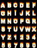 Letters and numbers with flame effect. Illistration of the complete alphabet and digits with a flame effect Stock Photos