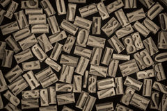 Letters and numbers in letterpress wood type Royalty Free Stock Image