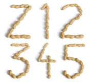 Letters and Numbers Made of Peanuts Royalty Free Stock Photos