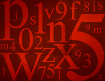 Letters and Numbers Mix Royalty Free Stock Photography