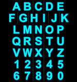 Letters and numbers neon light full  on black Royalty Free Stock Photos