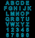 Letters and numbers neon lights outlined isolated on black Stock Image