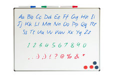 Letters, numbers and punctuation marks Stock Photo