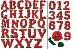 Letters and numbers red roses set  illustration Royalty Free Stock Photo