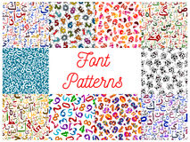 Letters and numbers seamless patterns set Royalty Free Stock Images