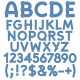 Letters, numbers and signs of denim. Royalty Free Stock Photography