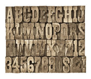 Letters and numbers in vintage wood type Stock Photography