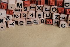 Letters and numbers on wooden blocks / cubes - letterpress , royalty free stock photos