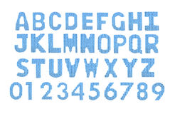 Letters and numerals english alphabet. Color blue Royalty Free Stock Images