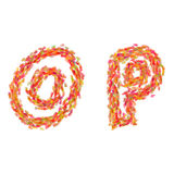 The letters O, P made of autumn leaves Stock Photography