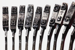Letters of the old typewriter Stock Photography