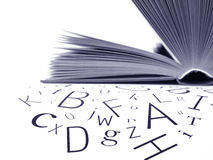 Letters with open book Stock Photo