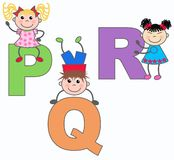 Letters P Q and R. Alphabet letters P Q and R in green lilac nad orange colors Stock Photography