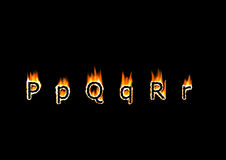 Letters P, Q, R. Of alphabet in fire Stock Images