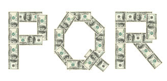 Letters P, Q, R made of dollars Royalty Free Stock Images