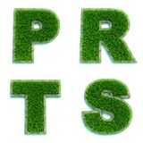 Letters P, R, T, S As Lawn - Set Of 3d. Stock Photos