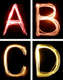 Letters painted with light Stock Image